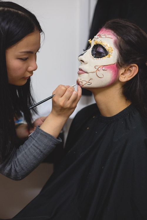 Hair and Makeup artist Vivian Chen hard at work getting model Laura Lage ready for her photo shoot.