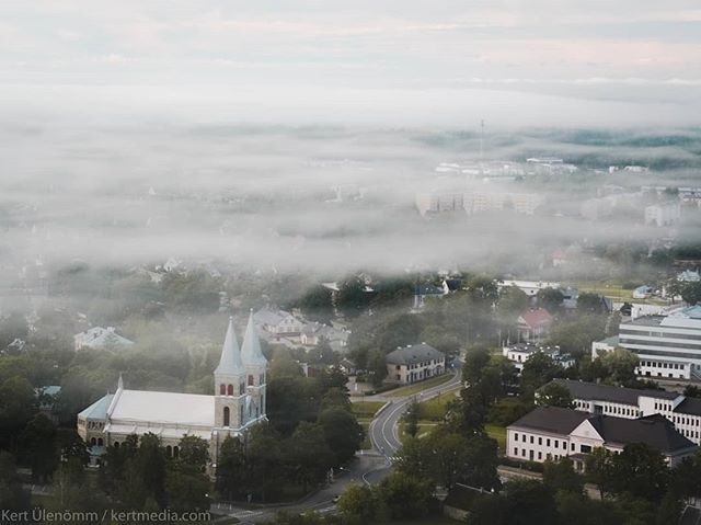 A quiet summer morning for a quiet little town🌫️🇪🇪 · · · · #djiglobal #fromwhereidrone #dronesdaily #aerialphotography #dronefly #dronegear #dronelife #rapla #estonia #adventure #drone #summermorning #church #dronestagram #summer #visitestonia #dji #travelgram #eesti #dronephotography #instatravel #foggymornings #adventuretime #droneoftheday #visitraplamaa #fog #drones #leaves #foggyday #inspire2