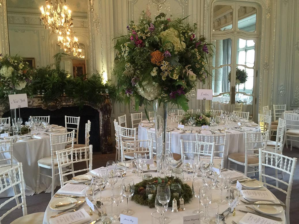 Botanical styled vases for Summer wedding at The Savile Club London