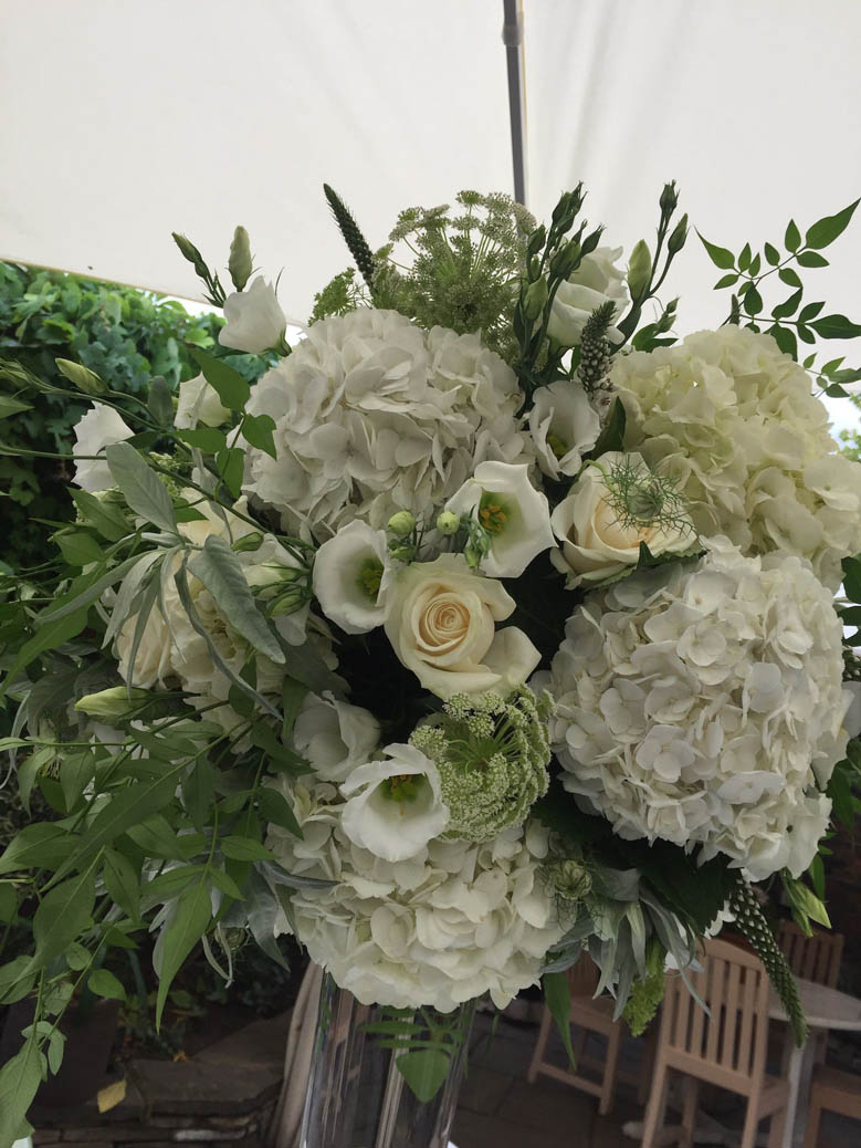 Textured Greens and Whites for wedding at The Roof gardens Kensington