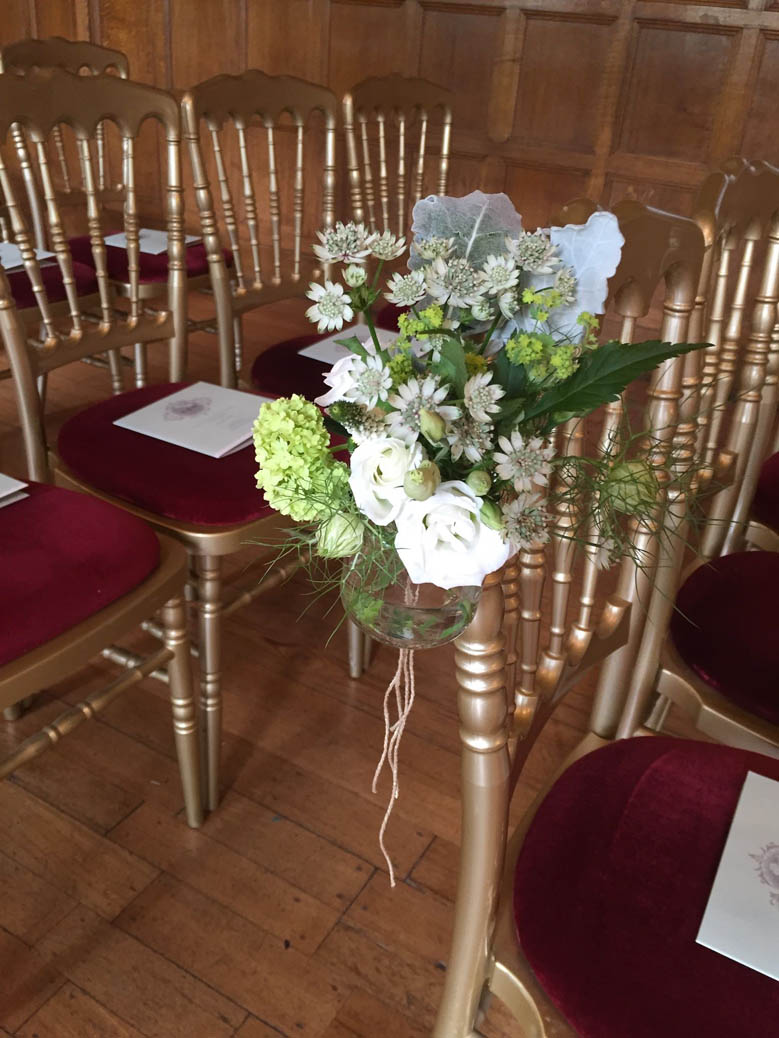jam jar wedding chair flowers for Two Temple Place London