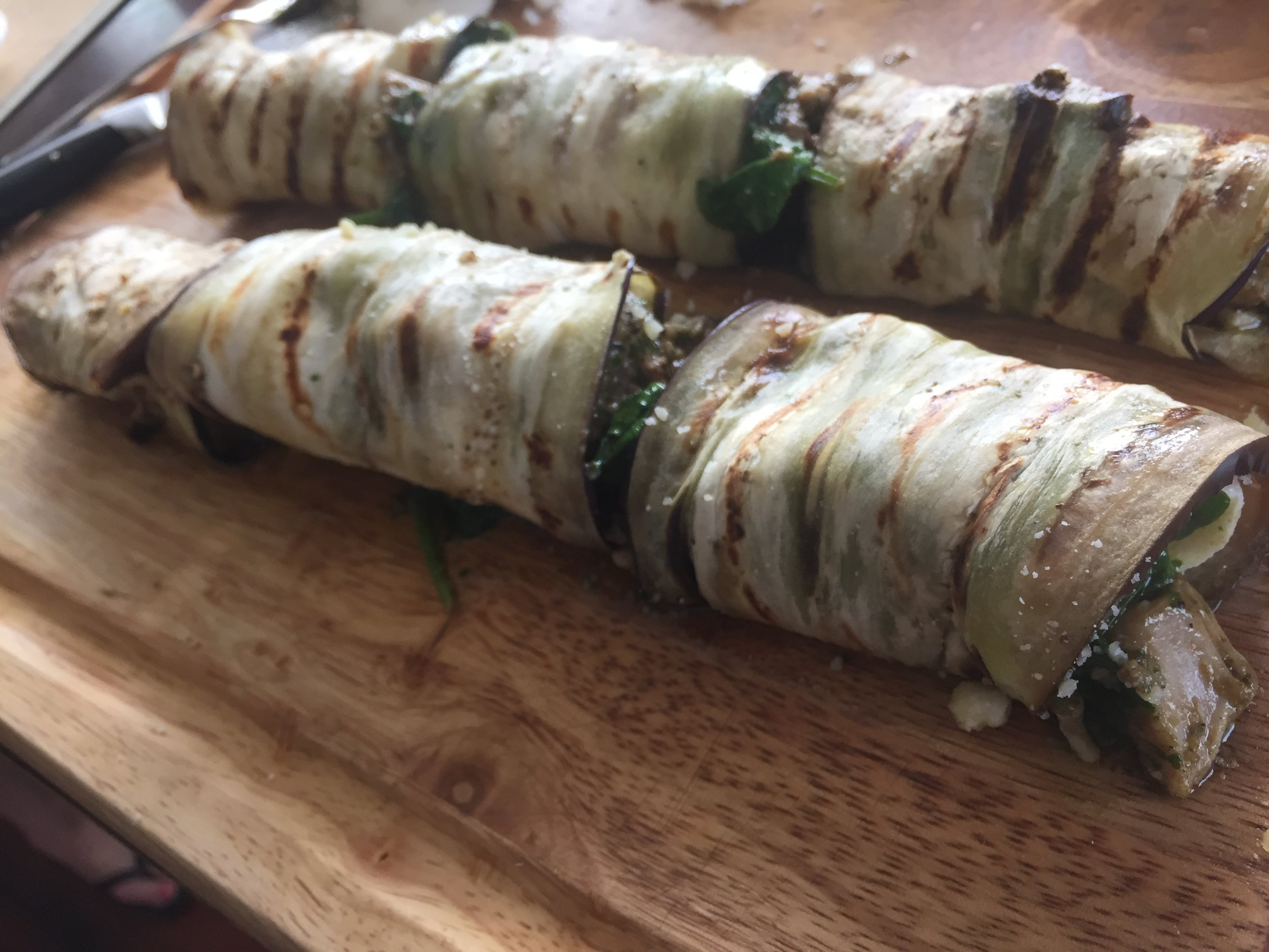 Chicken Pesto Eggplant Roll Ups