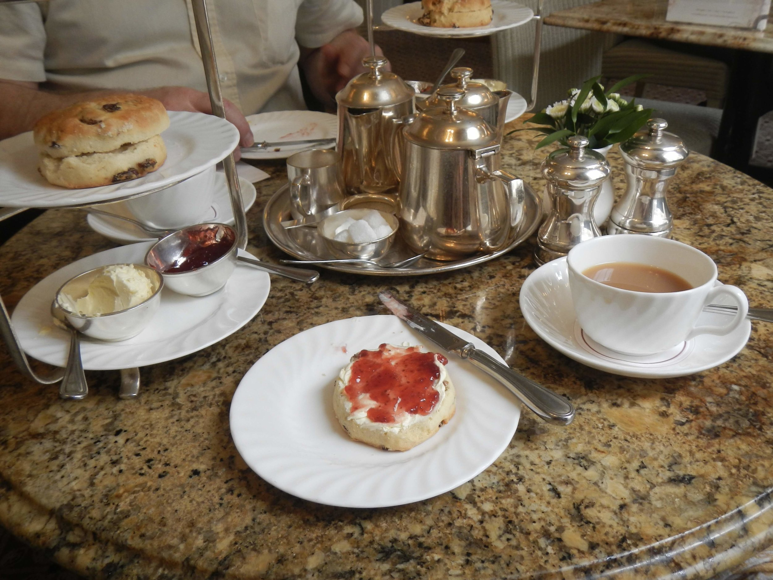 afternoon tea at Betty's, scones with clotted cream and strawberry preserves - so good!