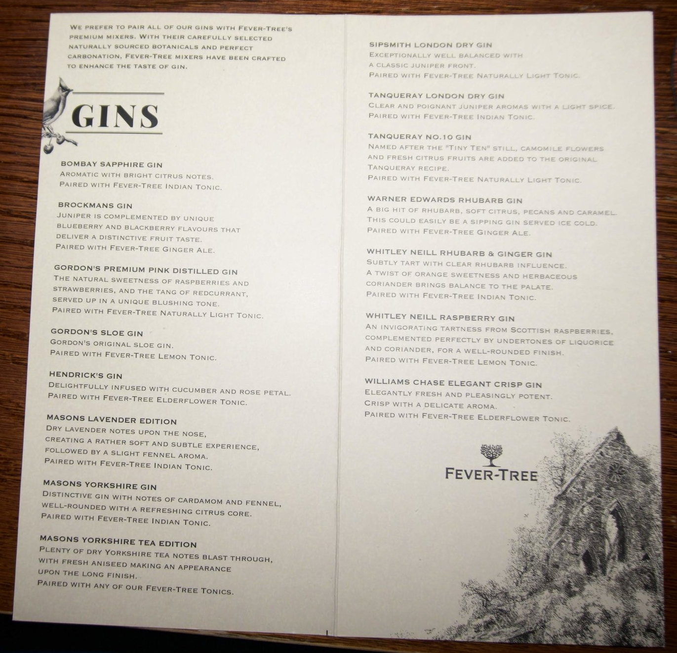 lots of gin options!!