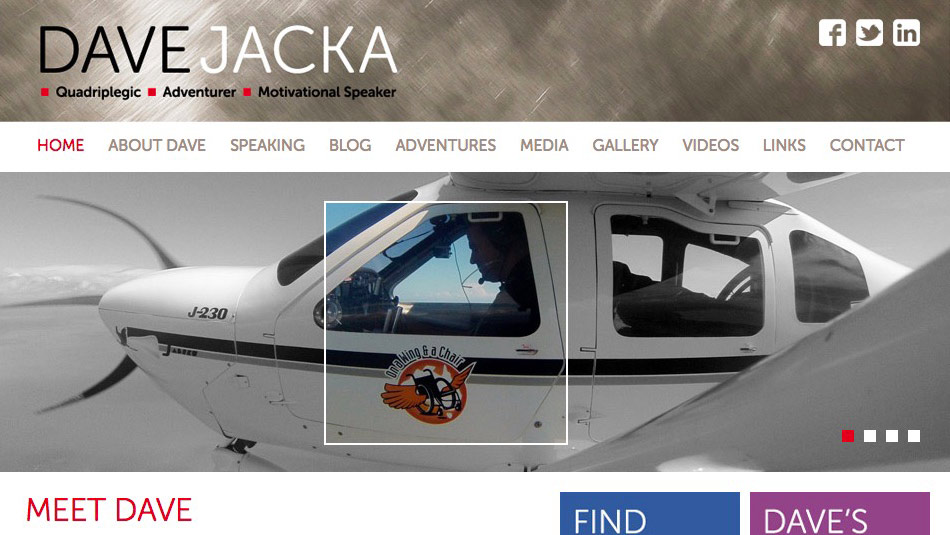 Visit Dave's Site - Learn more about Dave Jacka, the adventurer and motivational speaker.