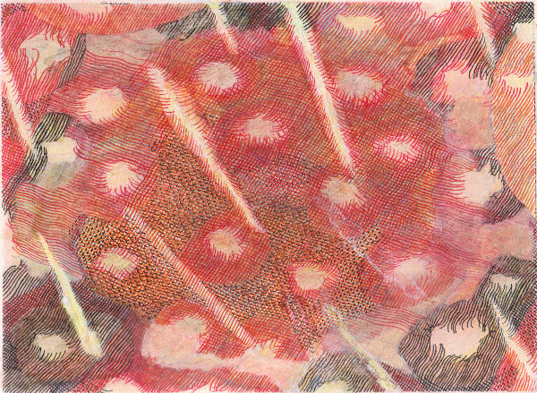 """Condition, 7"""" x 9"""", mixed media on paper, 2009-16 (private collection)"""
