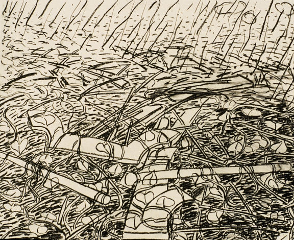 """Aftermath, 16"""" x 24"""", charcoal on paper, 1991 (private collection)"""
