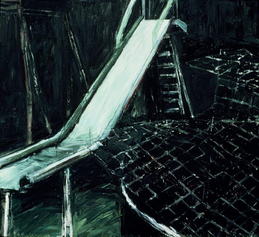 "Slide, 60"" x 72"", oil on canvas, 1987"