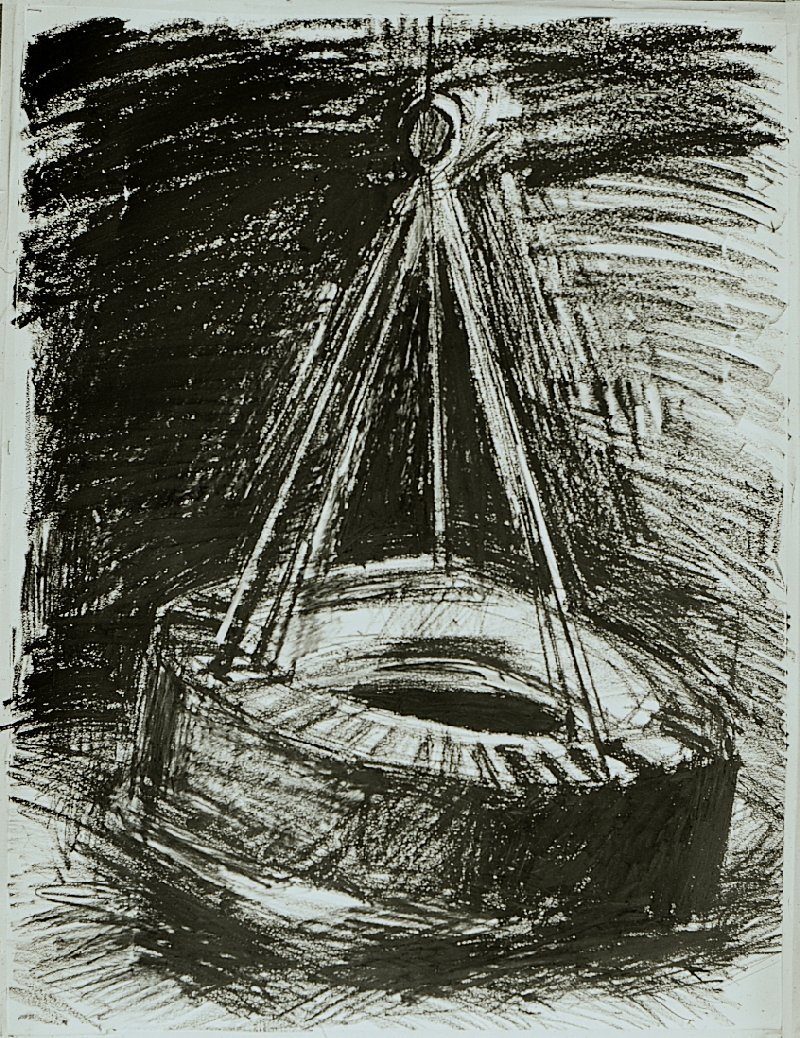 "Tire Swing, 30"" x 40"", charcoal on paper, 1987"