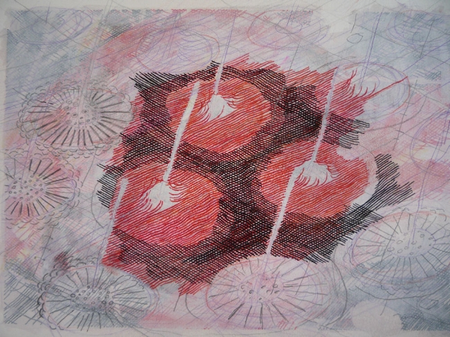"""Tablets, 7"""" x 9"""", mixed media on paper, 2009"""