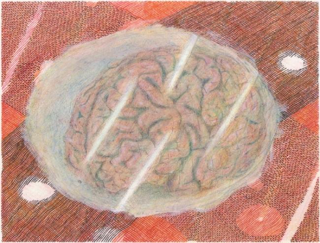 "Brain, 7"" x 9"", mixed media on paper, 2009-16"