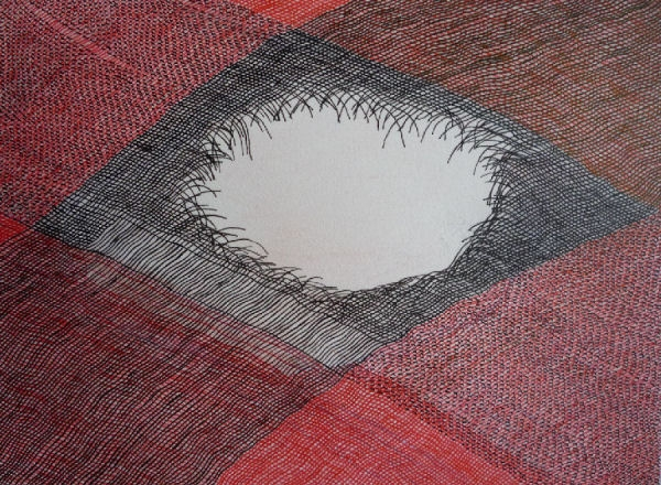"""Hole, 7"""" x 9"""", gouache and ink on paper, 2010"""