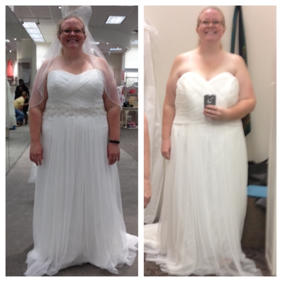 Left: the first time I tried on my wedding dress. Right: When I went in for my first fitting, after losing almost 40 pounds.