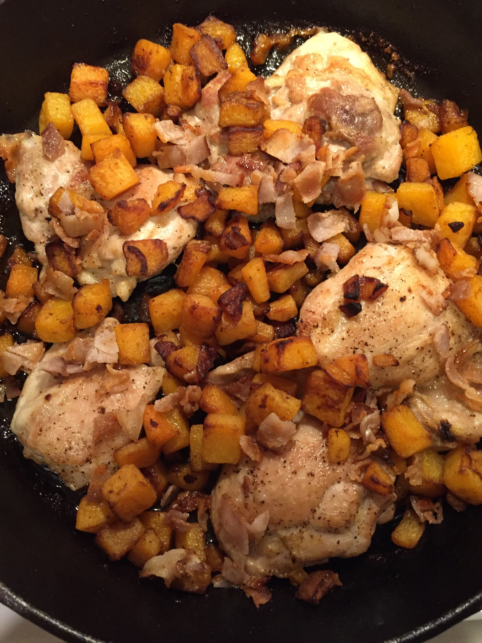 Chicken thighs, butternut squash, and W30 compliant bacon--my absolute fave!