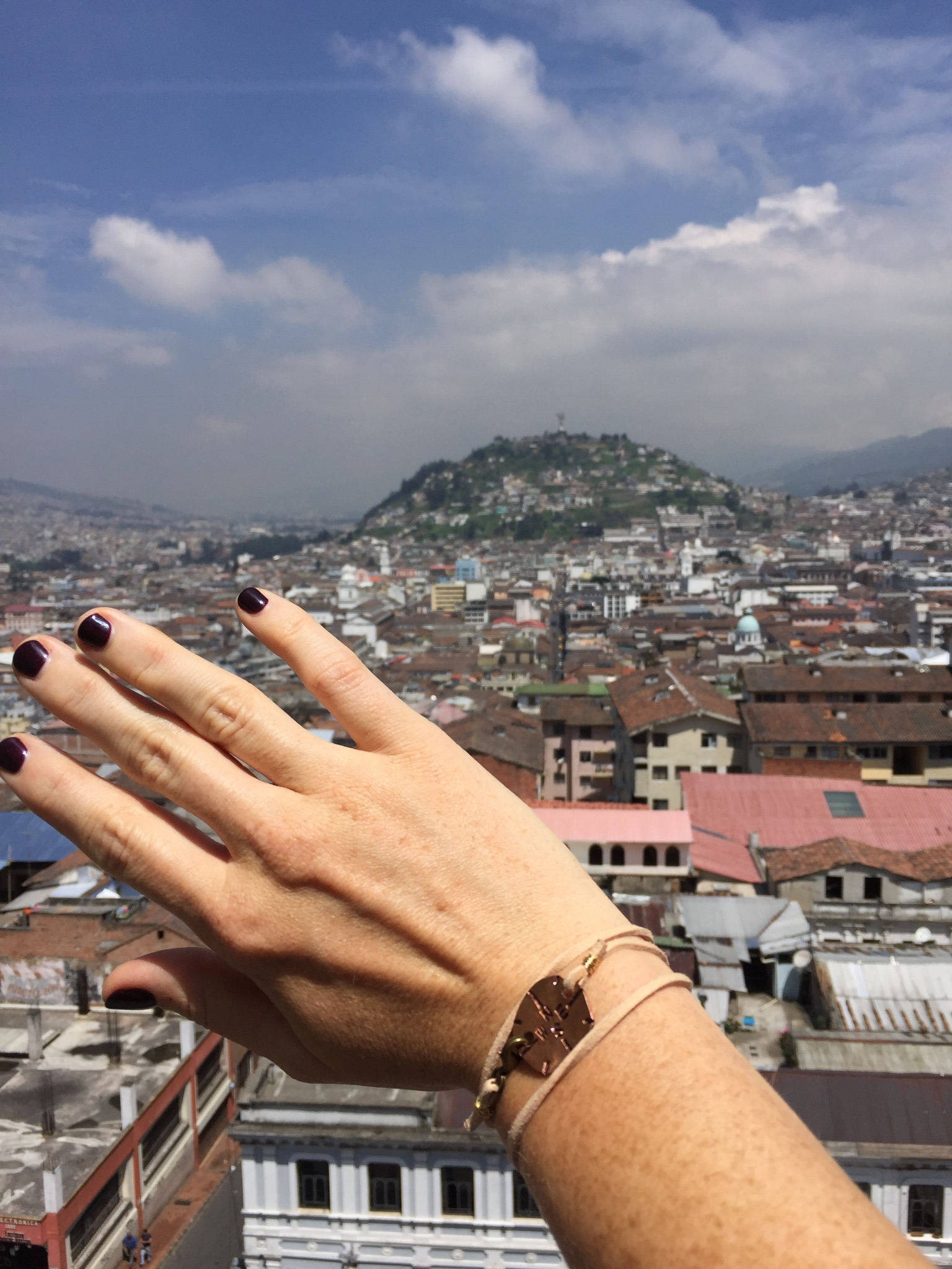 My  Traveling Penny  in Quito and the view from the Basilica.