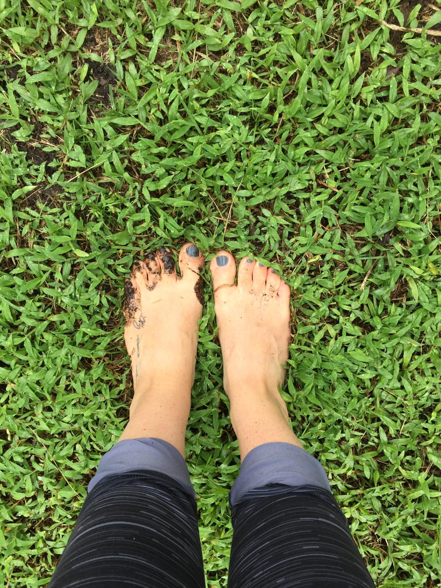 Walking barefoot.