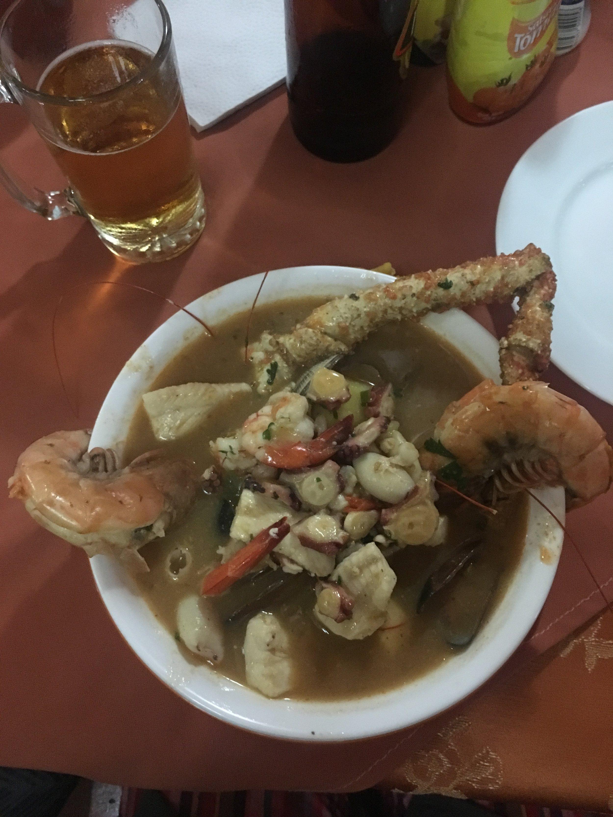 Michael's dinner--sopa de marisco (mixed seafood soup).
