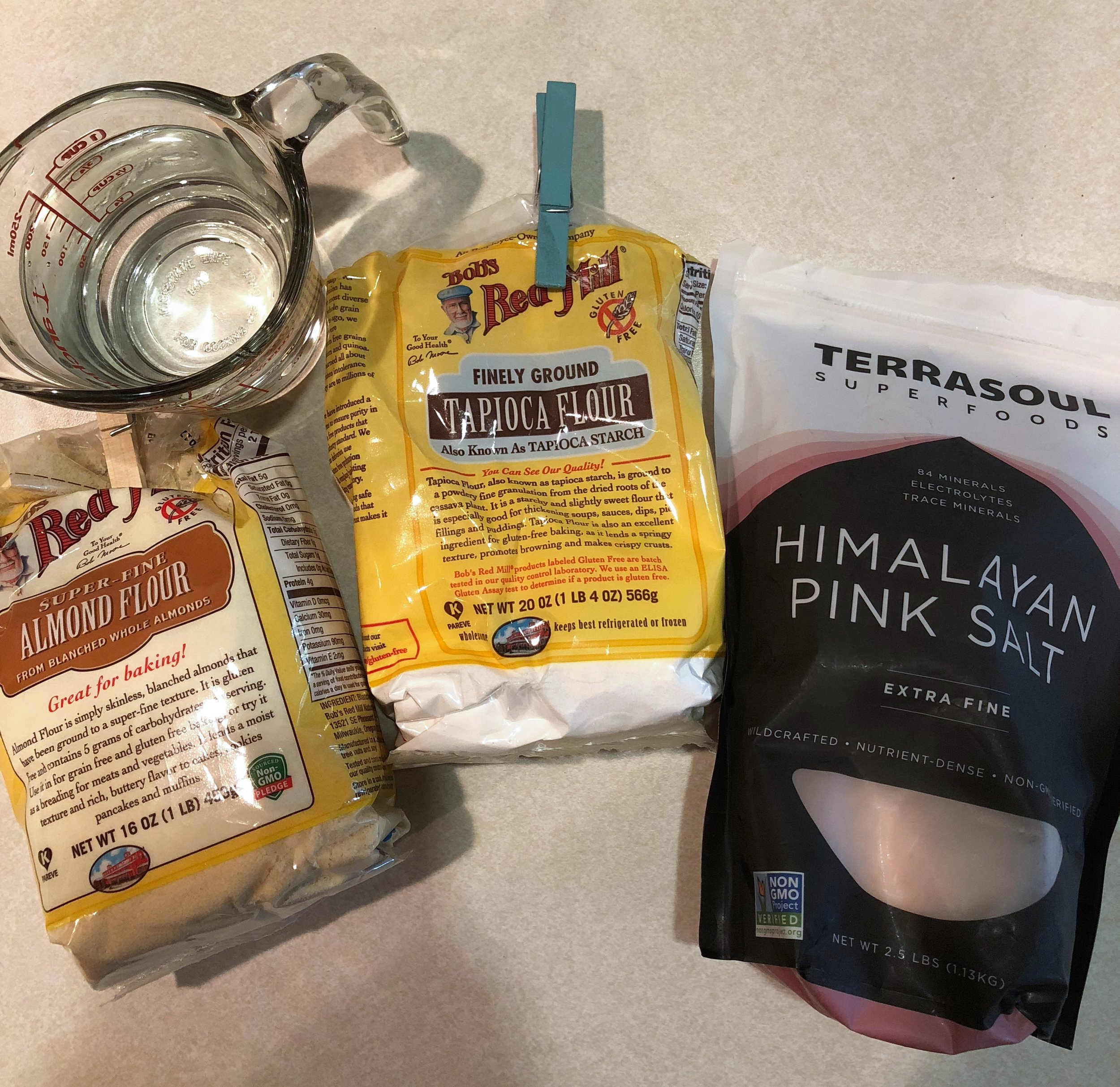 I really like using the Bob's Red Mill Almond Flour and Tapioca Flour. I also use Himalayan Pink Salt but you can use regular salt.
