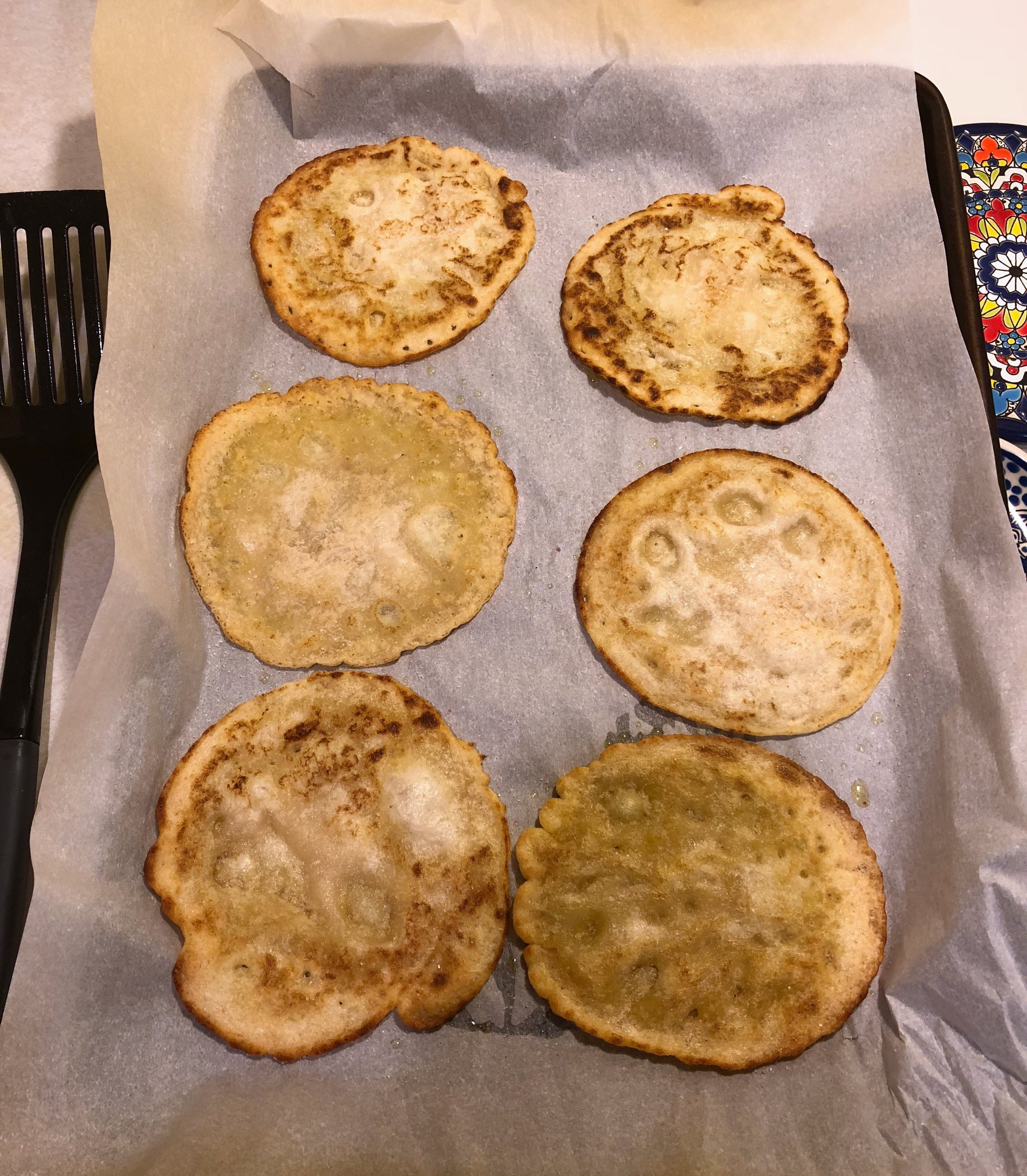 Beautiful tortillas after 5-10 minutes in oven.