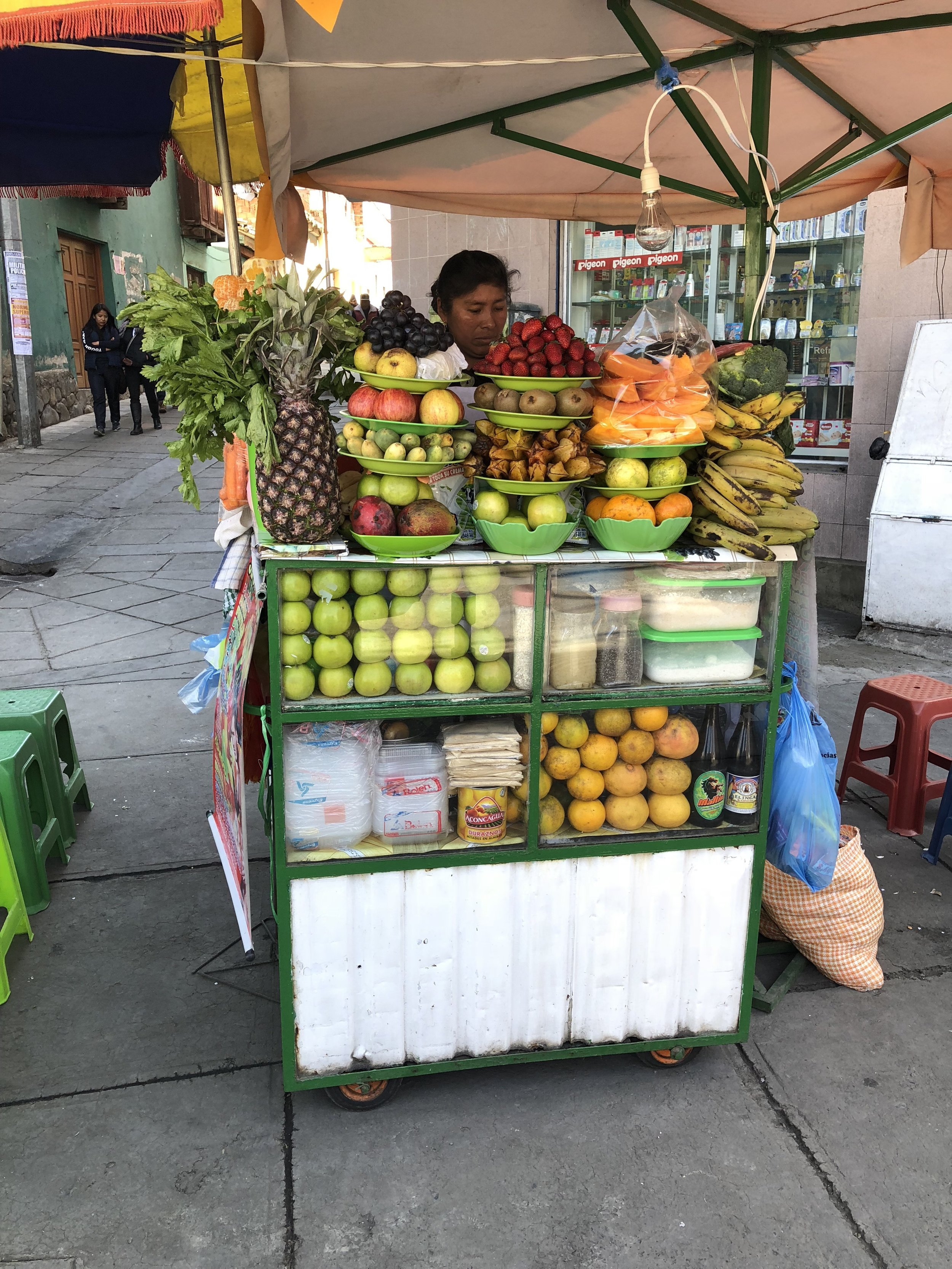 A juice vendor whom we bought from almost every day in La Paz, Bolivia!