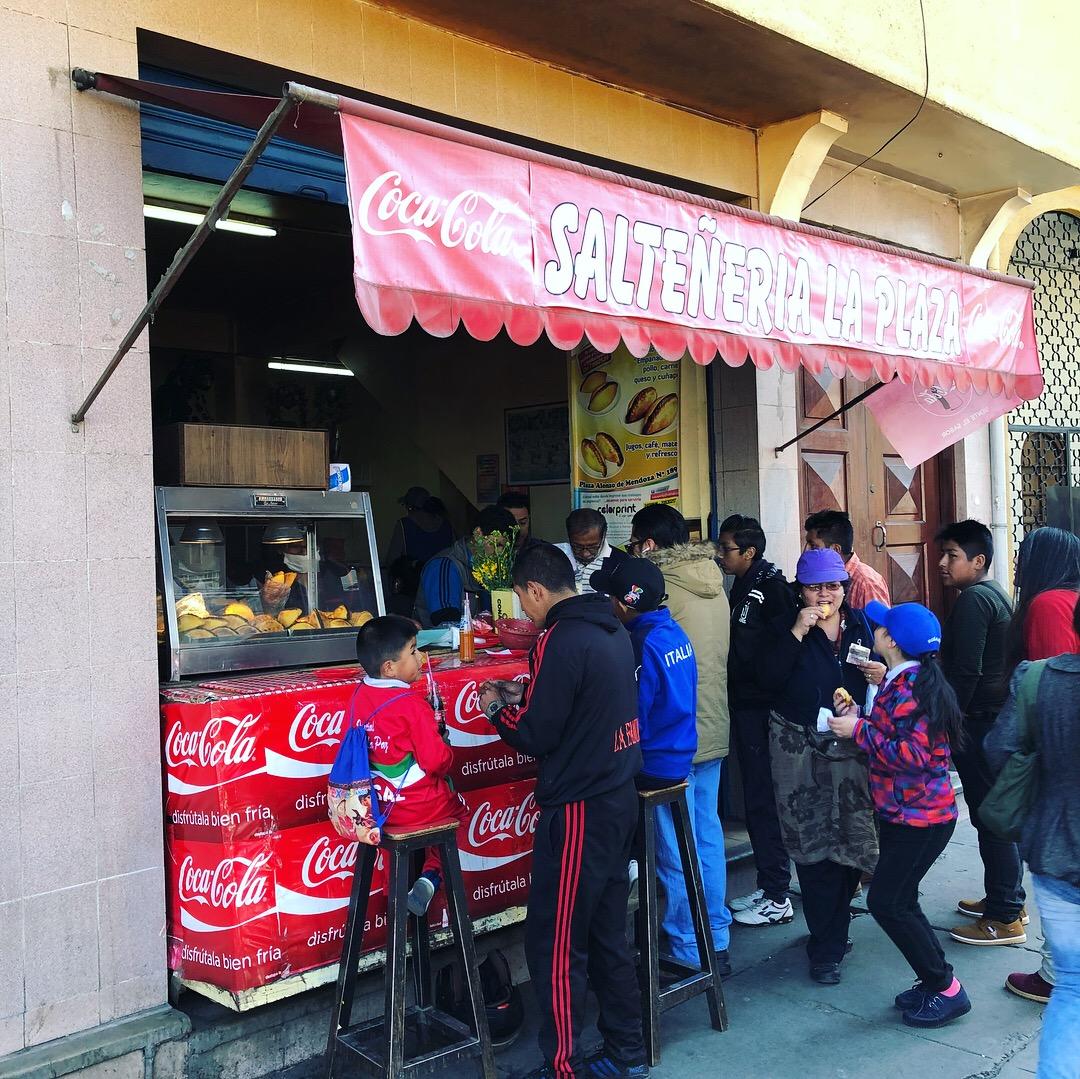 An always popular restaurant specializing in Saltenas (see photo below).