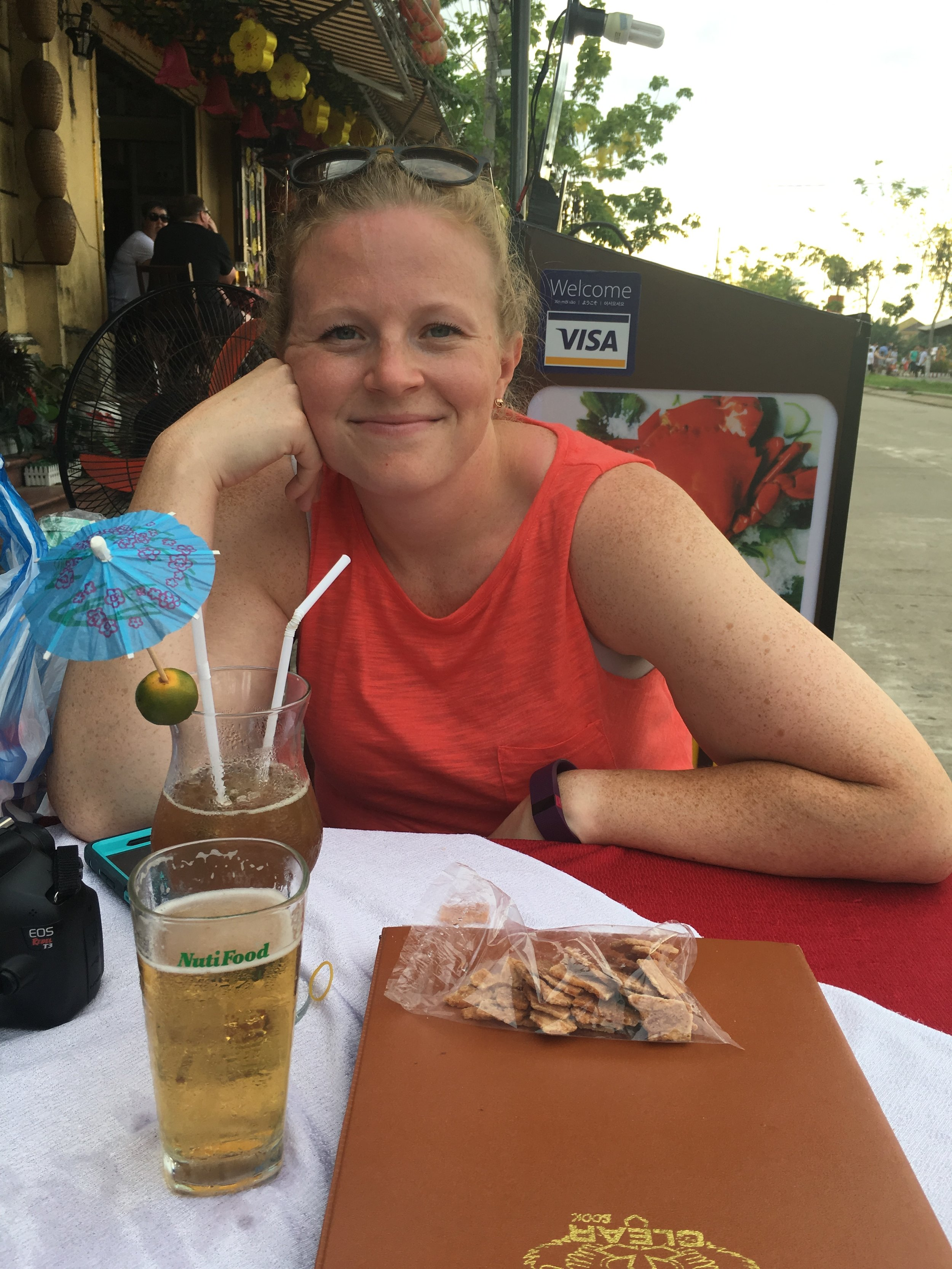 A relaxing respite along the river in Hoi An, Vietnam filled with cheap drinks and delightful snacks.