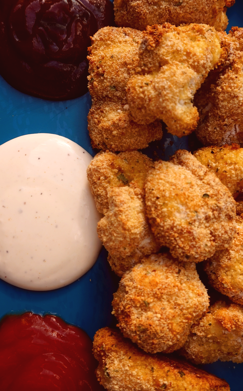 """Crispy cauliflower """"chicken"""" nuggets."""