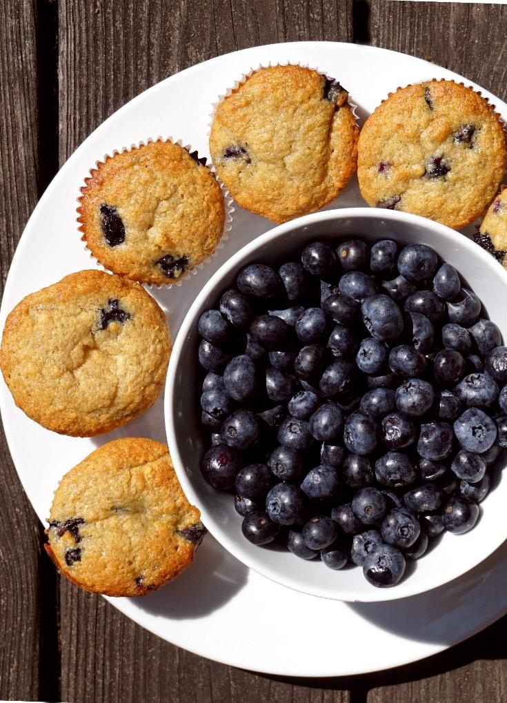 Vegan blueberry banana muffins.