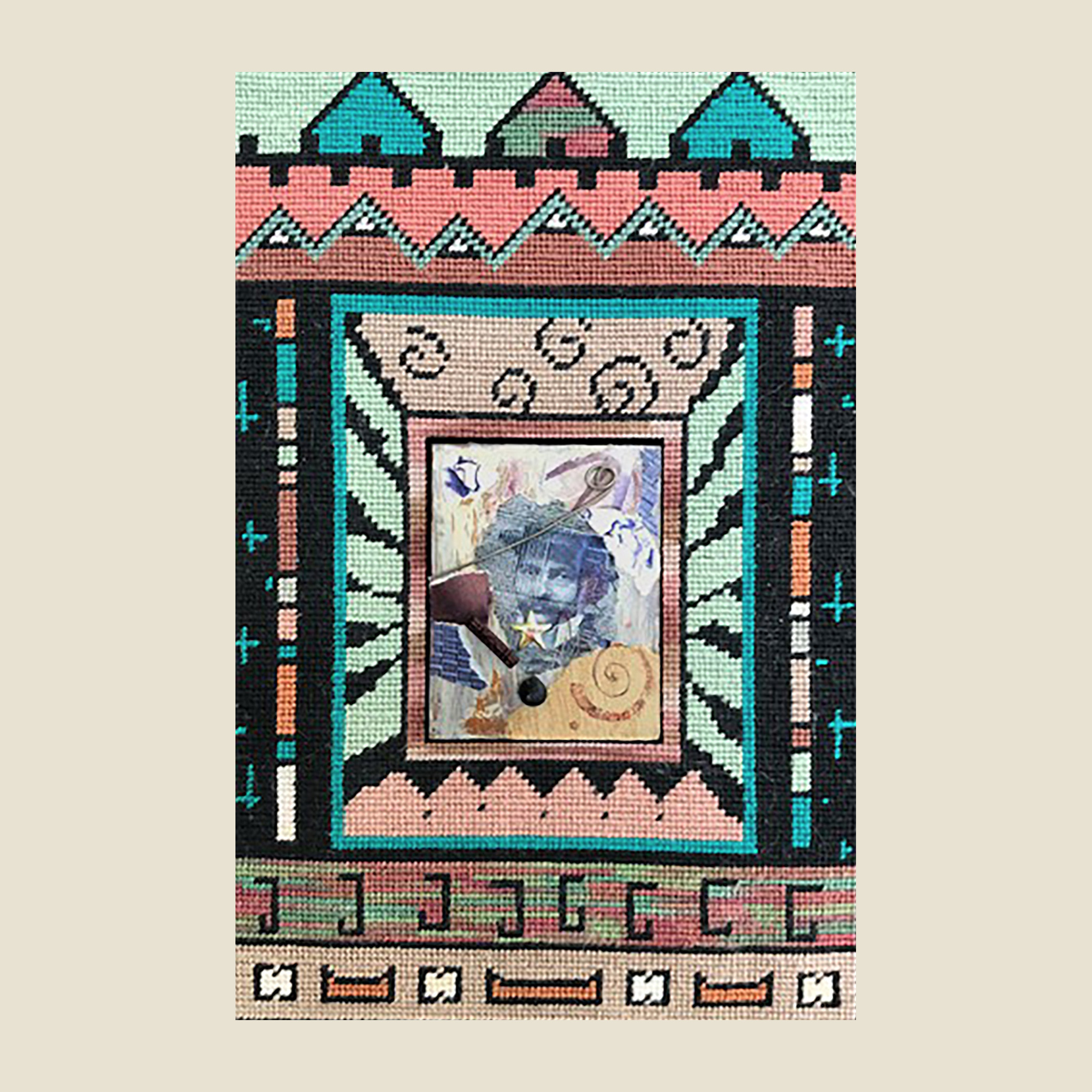 """MYSTERIOUS MAN   Petitpoint with Collage  9"""" x 6"""""""