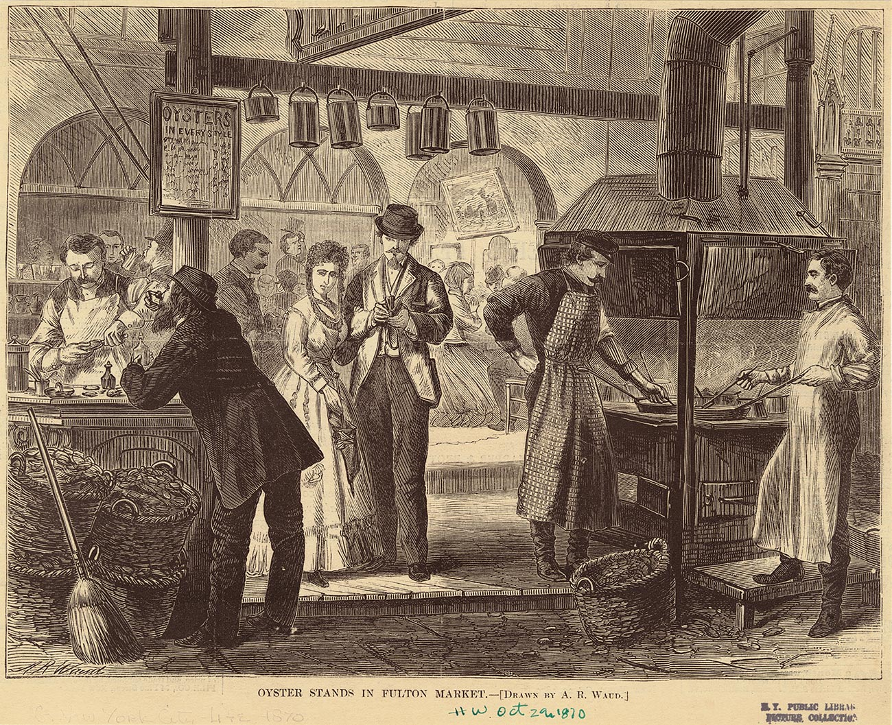 """Oyster stands in Fulton Market,"" from  Harper's Weekly , October 29, 1870, found on  VisualizingNYC.org ."
