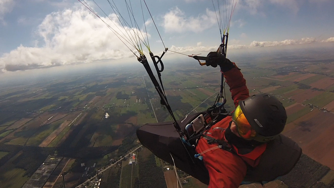 ABOVE Calef Letorney showing off the view at Mont Yamaska, Quebec, one of the sites where he teaches soaring and XC flying.