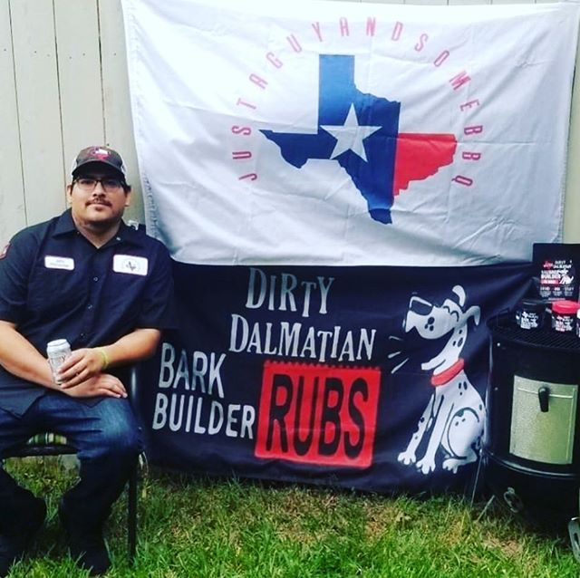 Really excited to bring BBQ competition fame @justaguyandsomebbq John Guzman Of San Antonio, TX on our Dirty Dalmatian Pro TEAM.  John has been repping DD Rubs all over South Texas BBQ competition scene for a while, doing catering, and been a great friend and supporter through the DD journey! Go give him a follow he is great people . He cooks on Weber Kettle, Weber Smokey Mountain, and a Lyfe Tyme offset Smoker.  His favorite thing to cook are Monster Beef Ribs and Spare Ribs.  John is a stay at home Dad of a 2 year old baby girl with another girl on the way.  #dirtydalmatianrubs #proteam #bbqcompetition