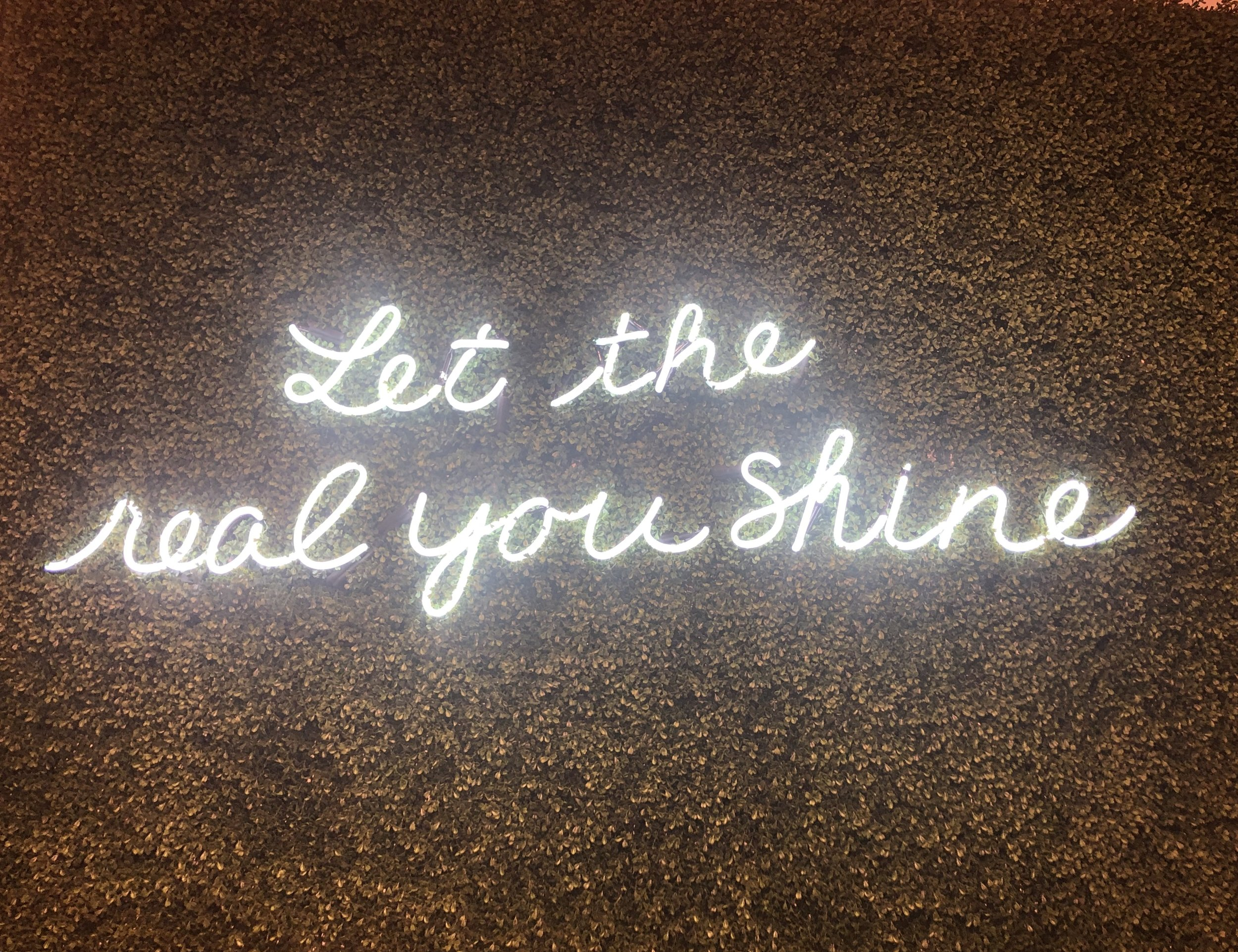 Fluorescent signs always get me, especially ones with a message I especially like this one because of the greenery behind the message . Be the best you possible, create your own happiness and finally, let the real you shine.