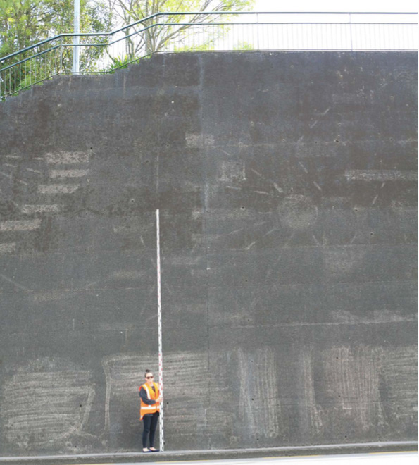 8-metre retaining wall with 0.9m fence above