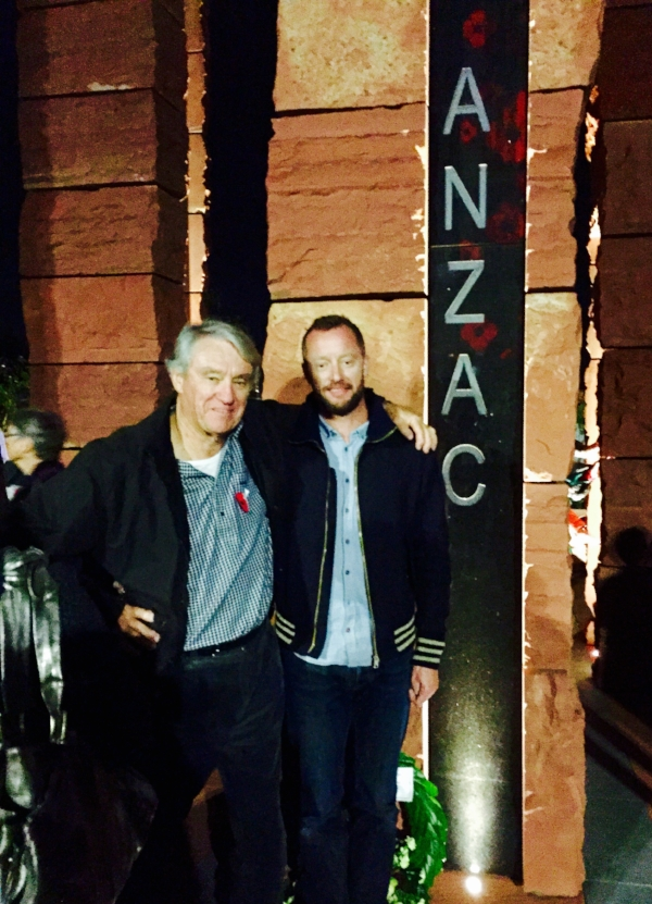 Mark Newdick and his father at the opening of the Australian Memorial at Pukeahu.
