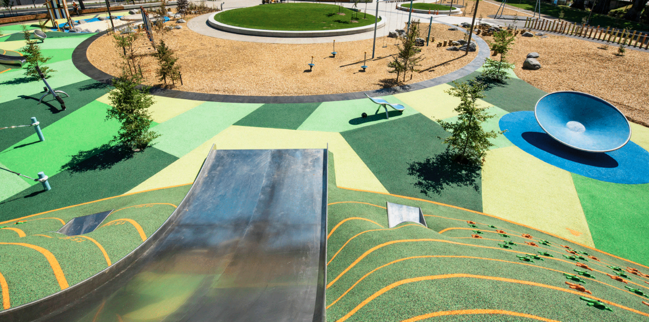 The Opus International designed Margaret Mahy Family  playground in Christchurch which opened in post-quake Christchurch in 2015.