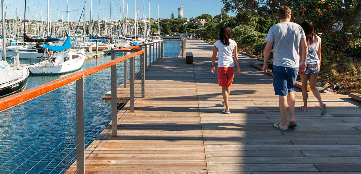 Landlab's promenade at Auckland's Westhaven Marina's brought central city residents a new urban beach.