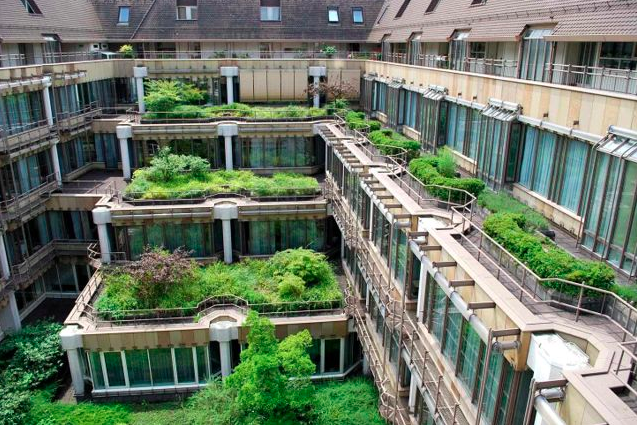 The Stuttgart Headquarters of a big German insurance company now includes this green roof.