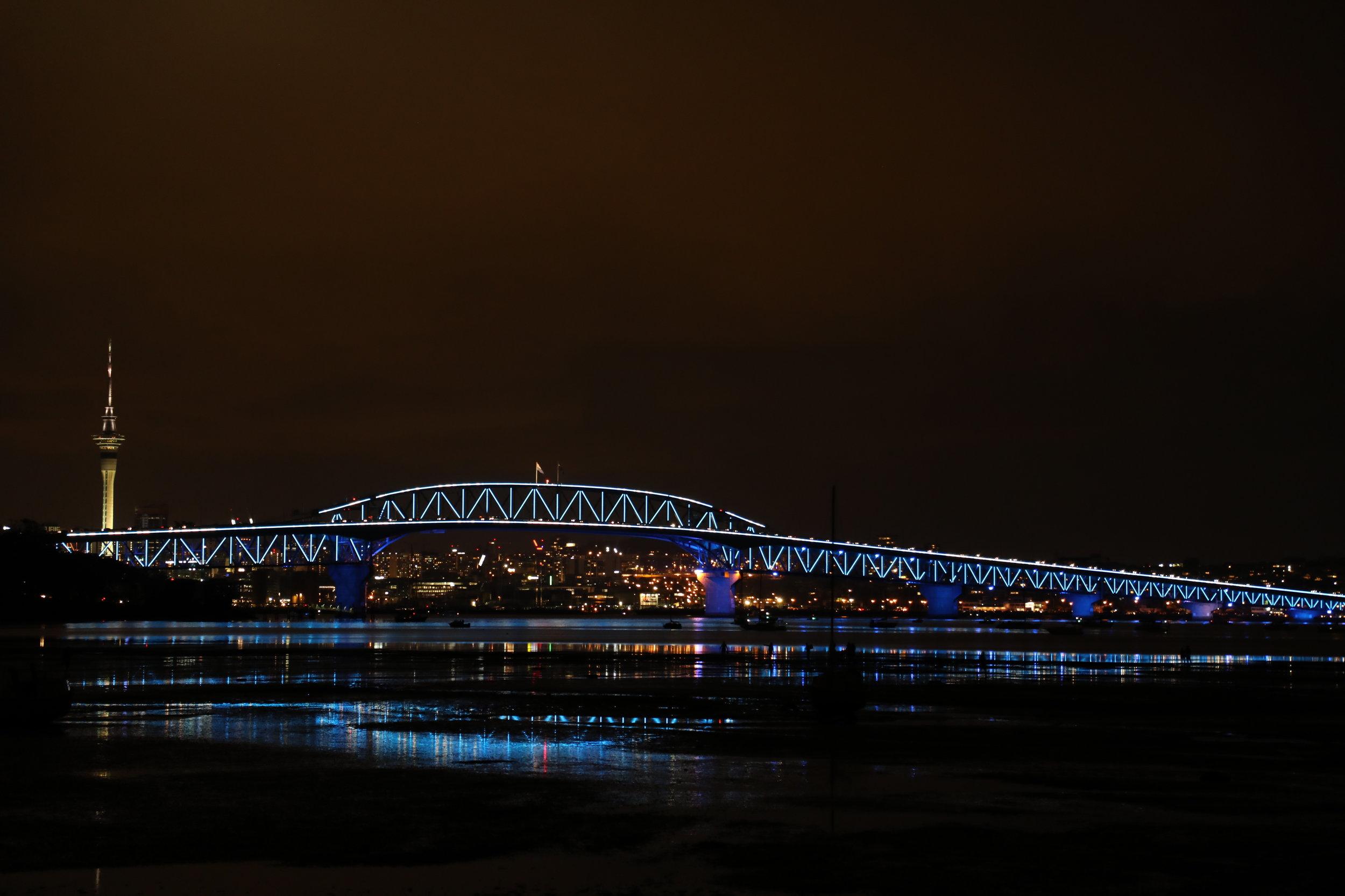 The bridge on Saturday night. Photo courtesy of Hamish Mortland, Colenso BBDO