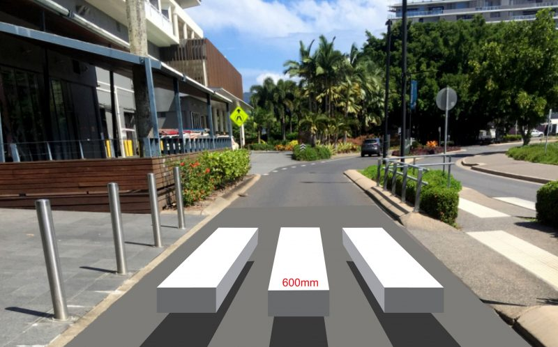 A mock up of the Cairn's 3D zebra crossing