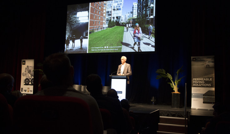 Sixpitch founder Ryan Gravel (Sponsored by Streetscape) presenting at the 2018 NZILA Firth Conference.