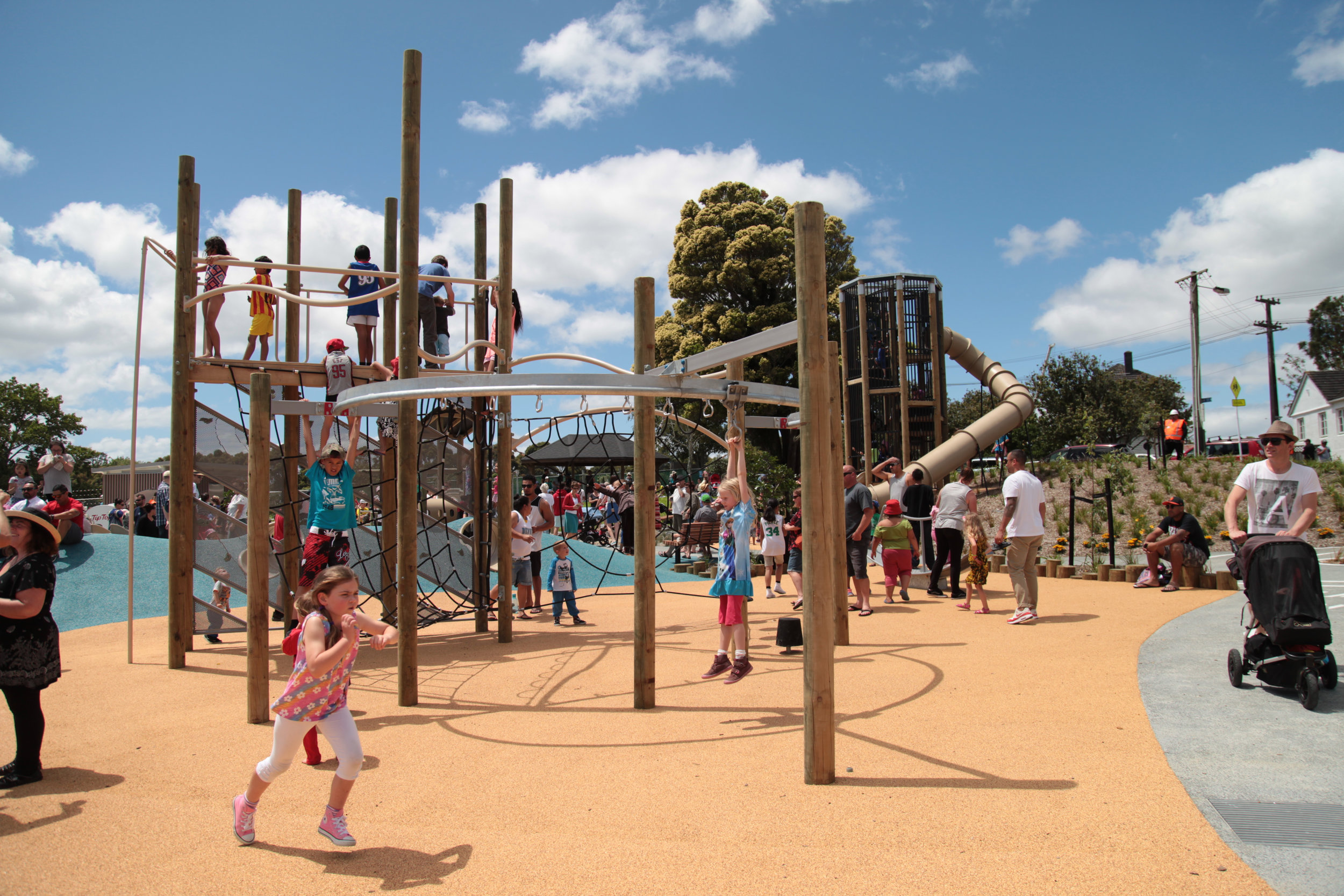Another view of Waterview park featuring equipment from Playground centre.