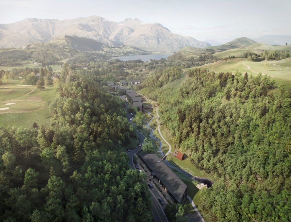 A render of the steep sided valley with the development snaking through.