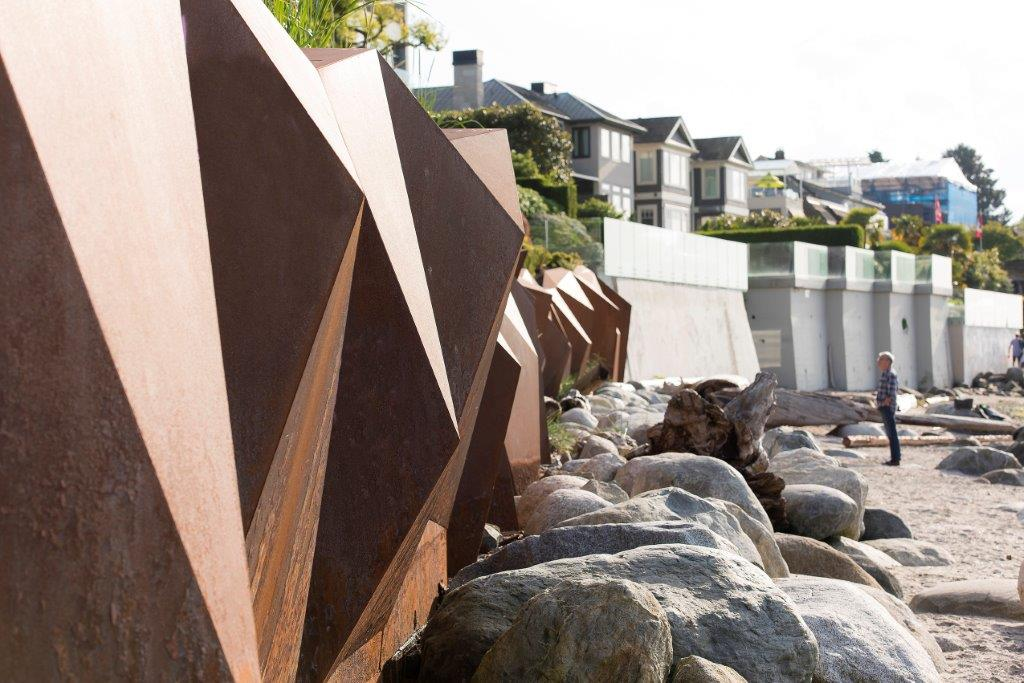 The landscape architects didn't want to build a more traditional concrete wall because of foreshore erosion. Photo credit Brett Hitchins.