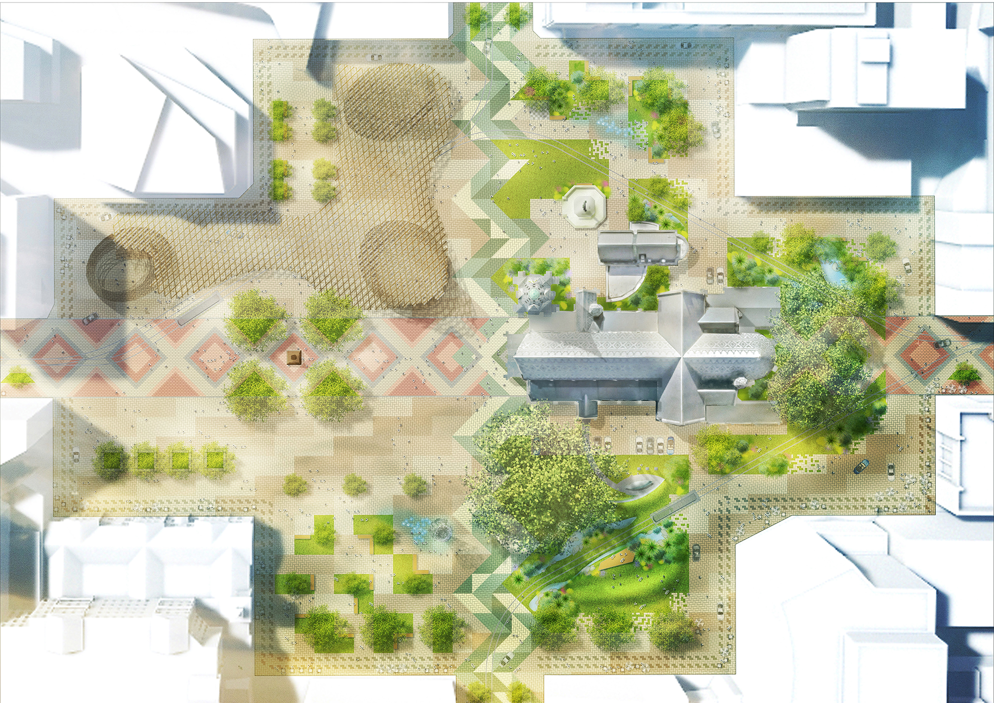 The plan for the square includes spaces suitable for holding public events.
