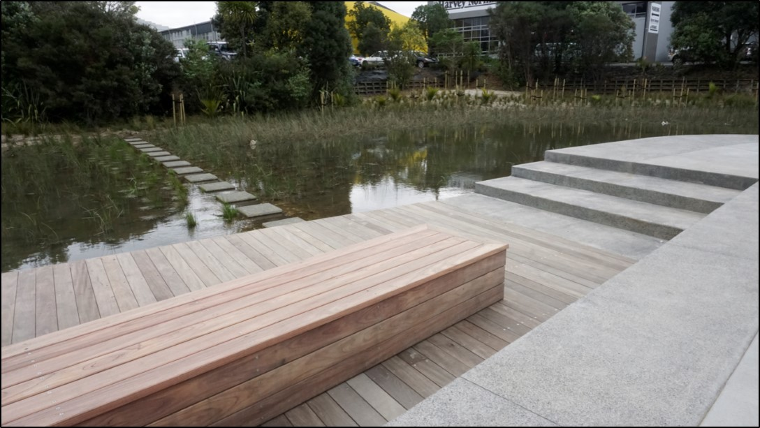 Honed stepping stone slabs can be used to cross a stormwater retention pond.