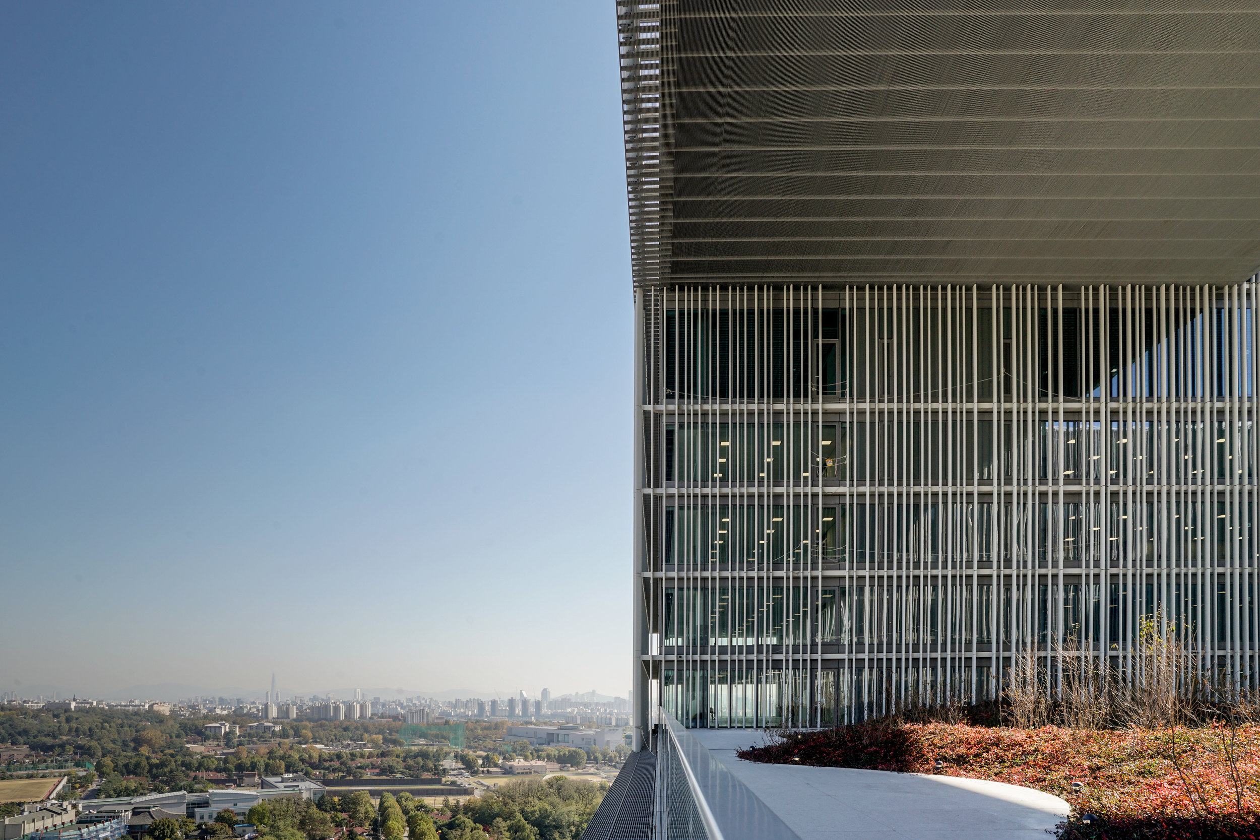 The view from the roof garden on the 16th floor.Photo credit: David Chipperfield Architects.