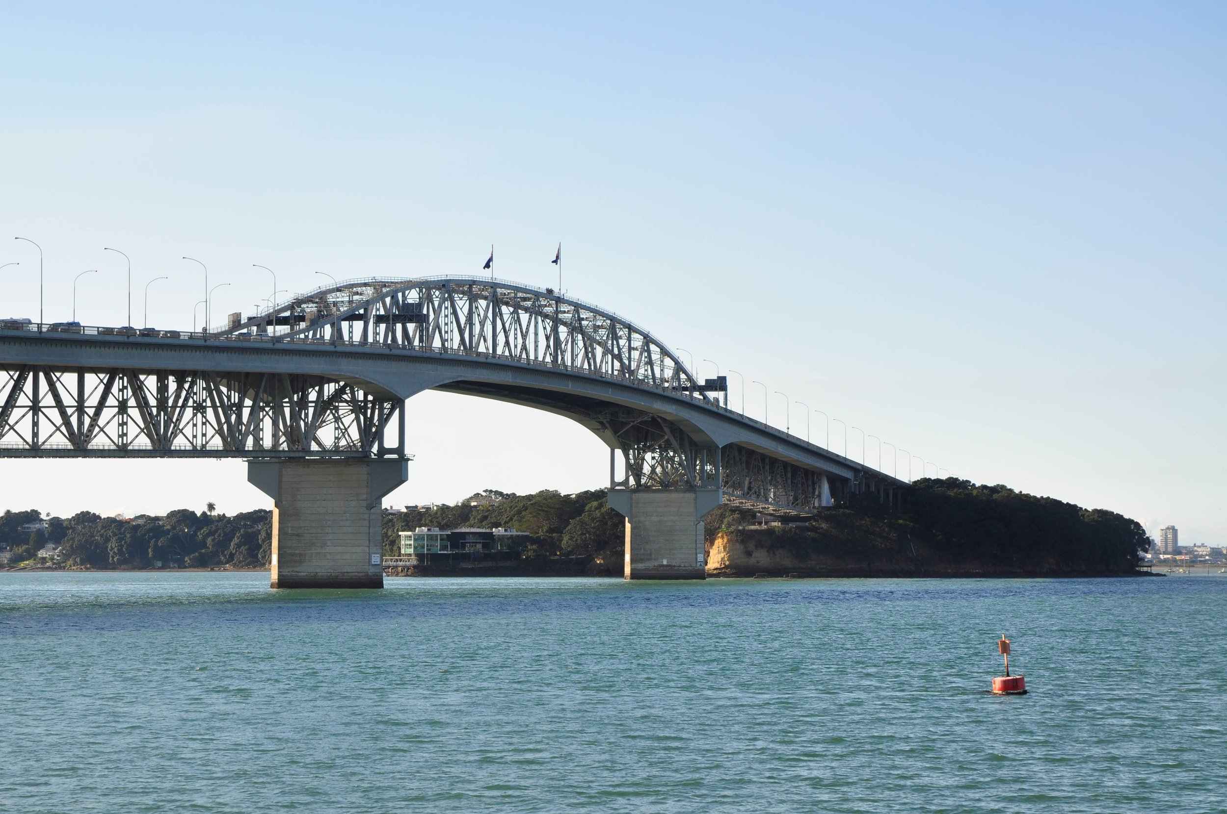 The Auckland Harbour Bridge - photo taken cityside, looking back to the North Shore.  The SkyPath is planned for this side of the bridge.