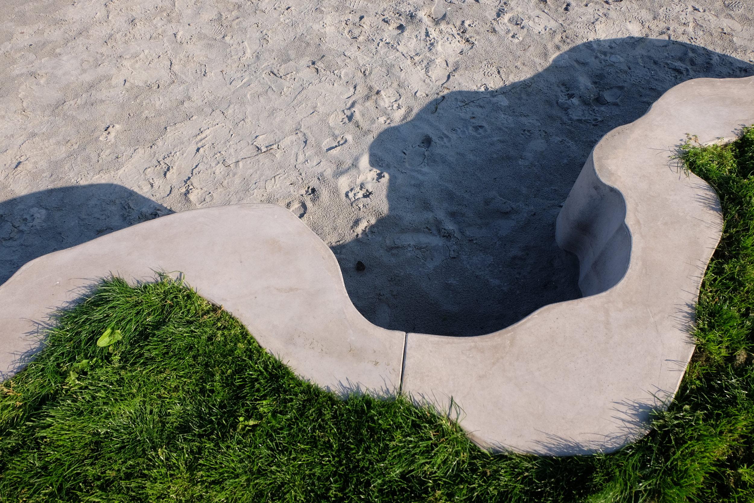 Sculptor Karin Lorentzen helped to design the new edge. Karin also supplied this photo.
