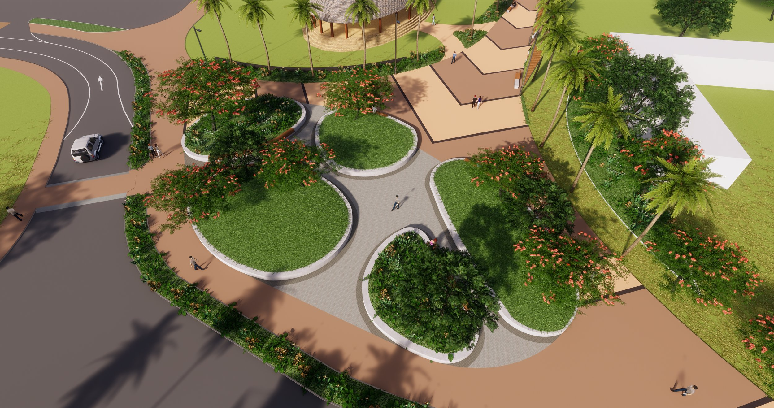 Render of the seating area on Apia's planned Clock Tower Boulevard.